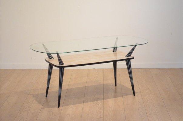 Tavolini In Legno Bianco : Tavolino da caffè mid century in legno bianco e nero italia in
