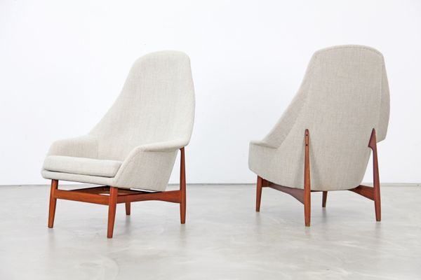 High Back Lounge Chairs By Ib Kofod Ln 1957 Set Of 2