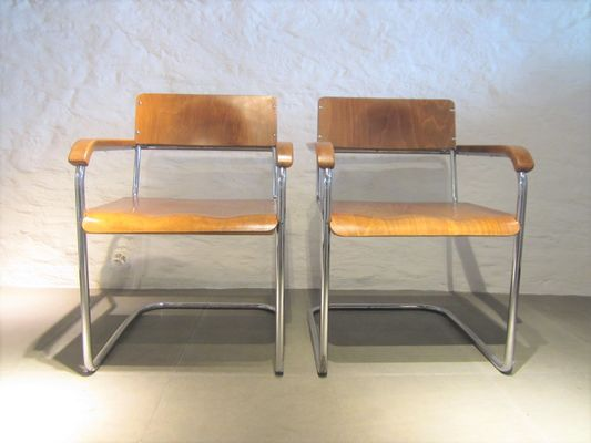 Vintage German B34 Cantilever Chairs By Marcel Breuer, Set Of 2 1