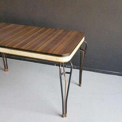 mid century formica and vinyl table with wrought iron legs 1960s