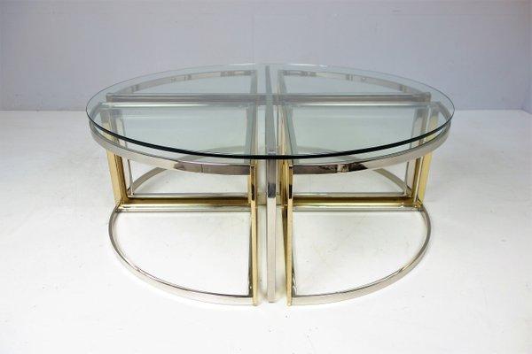 Tavolo rotondo in vetro, acciaio ed ottone di Maison Charles, anni ...