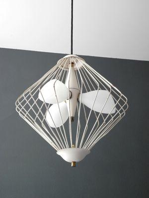 Mid century modern italian glass metal mesh pendant 1