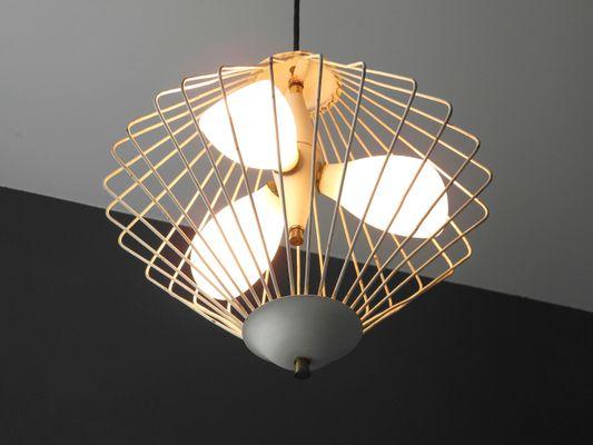 Mid century modern italian glass metal mesh pendant 3