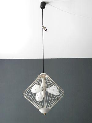 Mid century modern italian glass metal mesh pendant 2