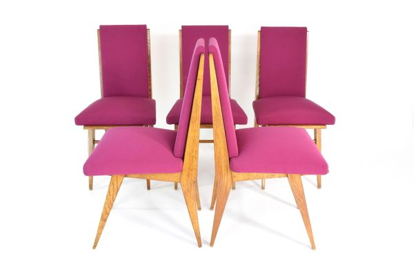 Vintage French Art Deco Style Dining Chairs, Set of 5 for sale at Pamono