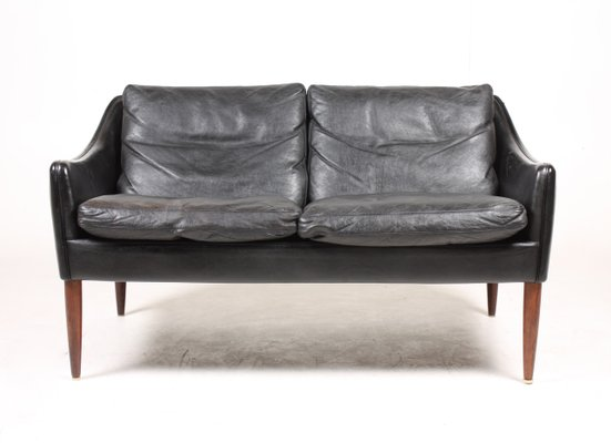 Black Leather & Rosewood Sofa by Hans Olsen, ...