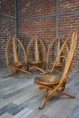 Good Mid Century Rattan Garden Chairs, 1960s, Set Of 4 6