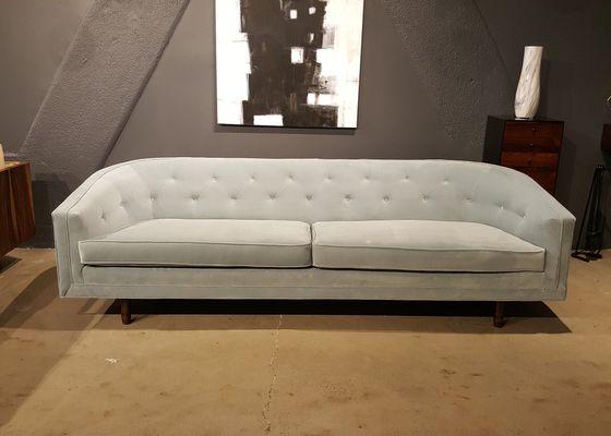 Mid Century American Pale Grey Velvet Sofa From Selig, 1960s 1