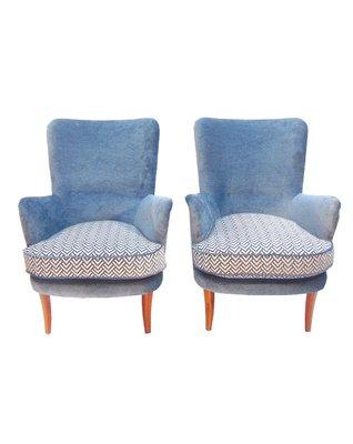 Poltrone con tessuto bianco e blu, anni \'50, set di 2 in vendita su ...