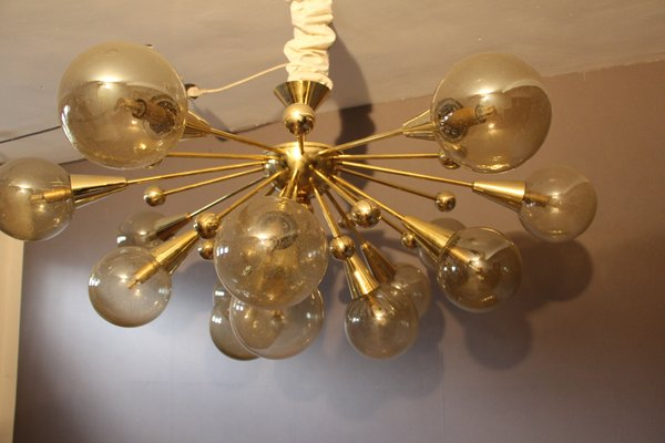 Vintage Gold Semi Sputnik Ceiling Light With Murano Glass 2