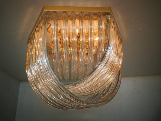 Vintage Curved Murano Glass Flush Mount From Venini 2