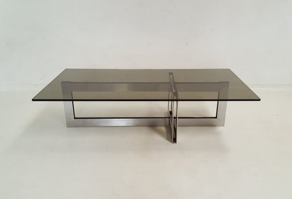 Stainless Steel And Glass Coffee Table, 1970s 1