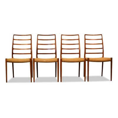 Vintage Model 82 Teak Dining Chairs By Niels O Moller For JL Mollers Set