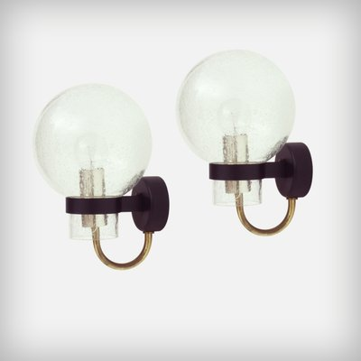 German Glass Brass Wall Lights From Glashutte Limburg 1960s