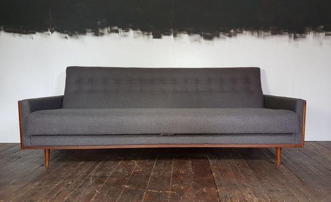 Mid Century American Teak Sofa In Grey Wool From G Plan/E.