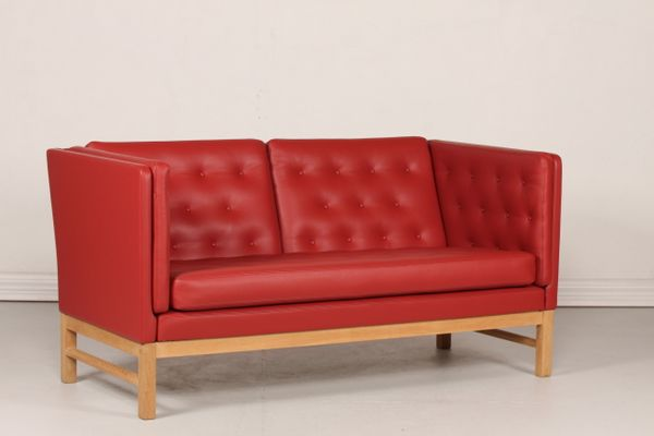 Danish EJ 315 2 Red Leather Sofa By Erik Ole Jørgensen, 1980s 1