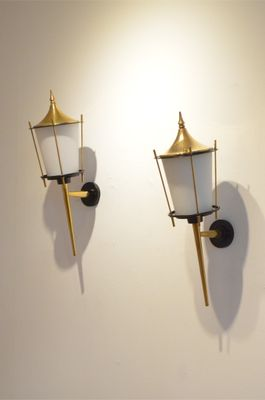 Incroyable Large Mid Century French Black Lacquer U0026 Brass Wall Sconces From Maison  Arlus, Set