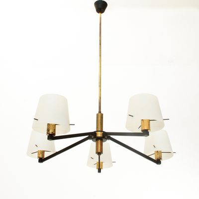 Italian brass and opaline glass ceiling lamp 1950s 1