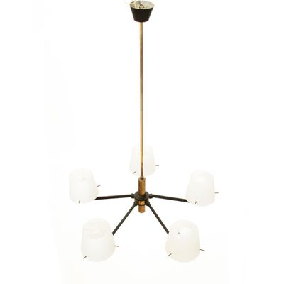 Italian brass and opaline glass ceiling lamp 1950s 2