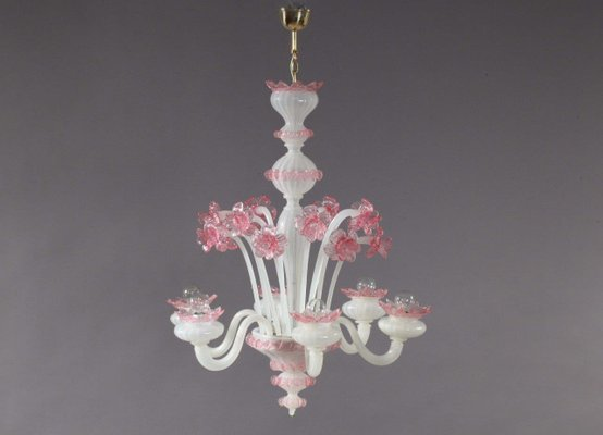 Pink Glass Chandelier Pink and white blown glass chandelier from murano 1940s for sale at pink and white blown glass chandelier from murano 1940s 1 audiocablefo