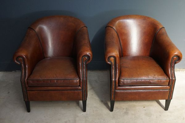Vintage Cognac Leather Club Chairs, Set of 2 7 - Vintage Cognac Leather Club Chairs, Set Of 2 For Sale At Pamono