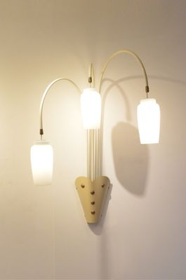 Large Cream U0026 Gold Opalescent Glass Wall Sconces, 1950s, ...