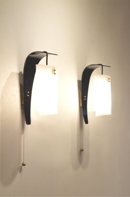 Vintage Italian Curvy Black U0026 White Plexiglass Wall Sconces, ...