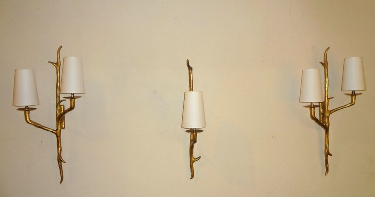 Bronze Wall Sconces From Maison Arlus, 1955, Set Of 3 1