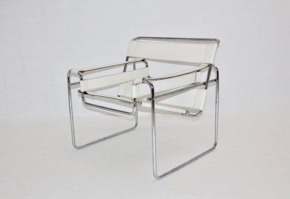 Vintage White Wassily Chair By Marcel Breuer 2