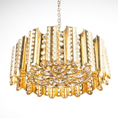 Large gold plated brass and crystal chandelier by gaetano sciolari large gold plated brass and crystal chandelier by gaetano sciolari 1960s 1 aloadofball Gallery