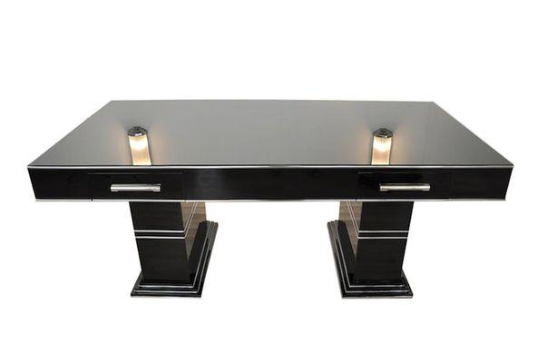 Bureau vintage noir haute brillance en vente sur pamono