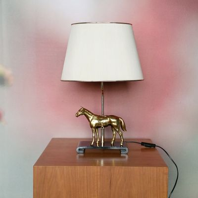 Hollywood Regency Table Lamp with Brass Horse, 1970s for sale at Pamono