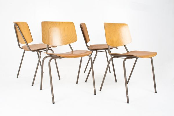 Amazing Vintage School Chairs By Kho Liang Ie U0026 Wim Crouwel For Car Katwijk, Set Of