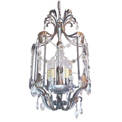 Vintage florentine crystal wrought iron ceiling light by bf art vintage florentine crystal wrought iron ceiling light by bf art 1 mozeypictures