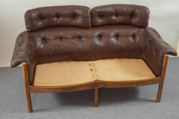Vintage Tufted Leather Sofa by Arne Norell for Coja for sale at Pamono
