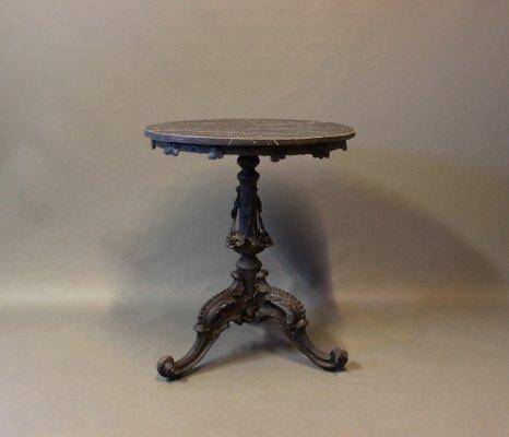 Table d\'Appoint Ronde avec Plateau Marbré Noir, 1880s en vente sur ...