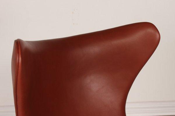 3316 Cognac Leather Egg Chair By Arne Jacobsen For Fritz Hansen, 1969 2