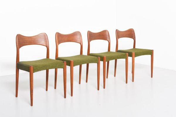 Teak Dining Chairs By Arne Hovmand Olsen For Mogens Kold Set Of 4 2