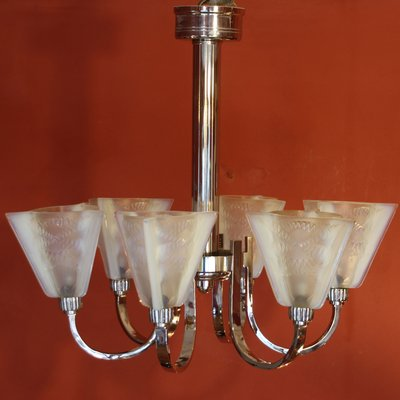 Art deco ceiling light with 6 arms and opaline glass tulip shades art deco ceiling light with 6 arms and opaline glass tulip shades from petitot 1 mozeypictures Images