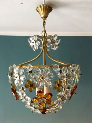 Floral italian ceiling light by christoph palme 1960s 3