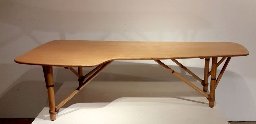 Wood And Bamboo Coffee Table 1950s 1