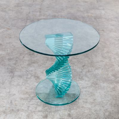 Tavolino vintage in vetro con base a spirale di Ravello in vendita ...