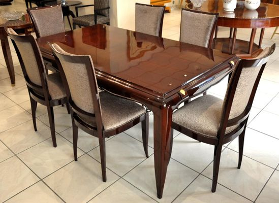 Dining Table Set by Jean Desnos, 1940s, Set of 7 for sale at Pamono