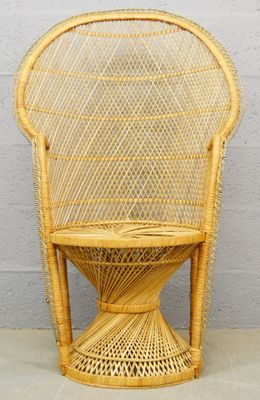 Mid Century Wicker Peacock Chair, 1970s 1
