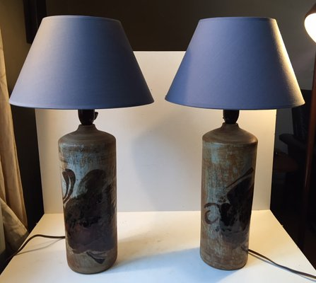 Danish modern stoneware table lamps by conny walther 1970s set of 2 1