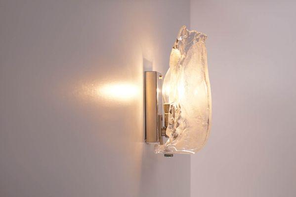 Vintage Ice Glass Wall Sconce By J. T. Kalmar 7