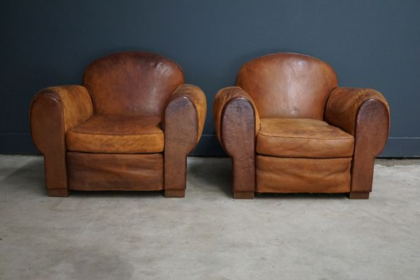 Vintage French Cognac Leather Club Chairs, Set Of 2 1