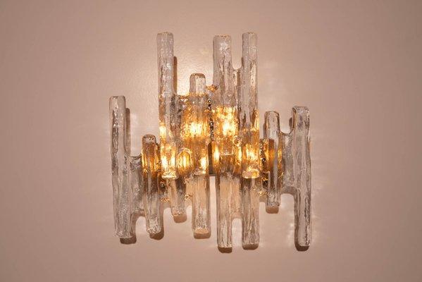 Vintage Ice Glass Wall Sconce By J. T. Kalmar 2
