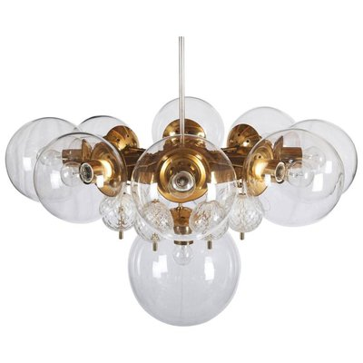 Large brass chandelier with crystal globes from kamenicky senov large brass chandelier with crystal globes from kamenicky senov 1960s 1 mozeypictures Image collections
