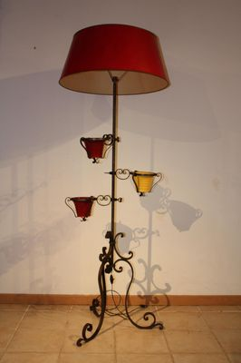 Vintage Wrought Iron Floor Lamp, 1950s 1